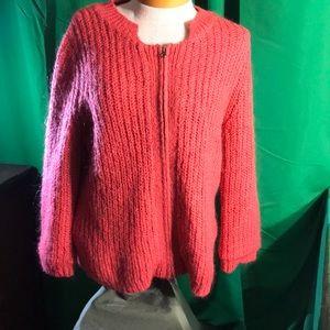 CAbi Full ZIP Sweater Jacket Salmon #620 Sz L